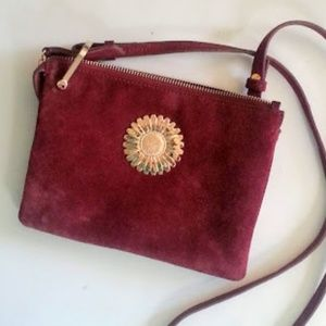 & Other Stories Bags - & Other Stories wine color gold flower suede bag